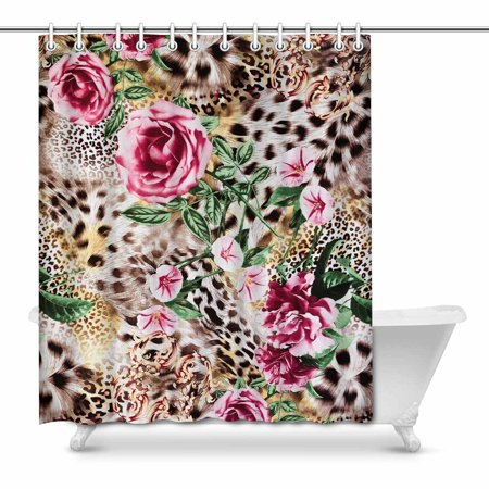 MKHERT Funny Striped Leopard and Flower Floral Home Decor Waterproof Polyester Bathroom Shower Curtain Bath 66x72 inch
