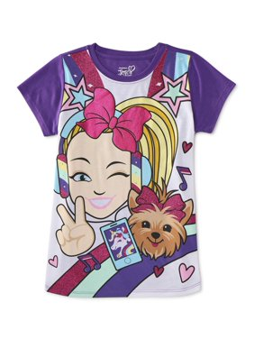 Nickelodeon JoJo Siwa and BowBow Girls Glitter Graphic T-Shirt, Sizes 4-16