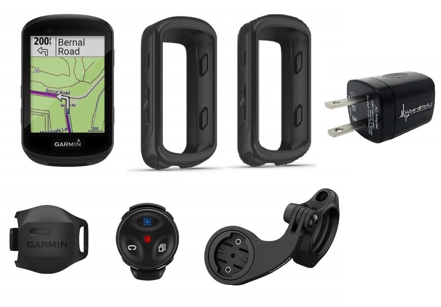 Garmin Edge 530 GPS Cycling Computer w Garmin Blue Silicone Case Wall Charging