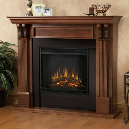Ashley Indoor Electric Fireplace in Mahogany by Real (Jensen Real Flame Gel)