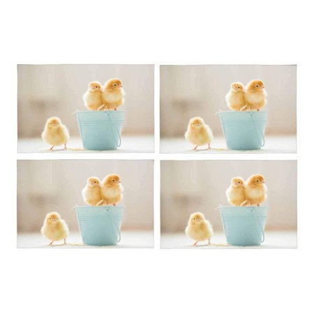 MKHERT Cute Baby Chicks Yellow Little Chicken Placemats Table Mats for Dining Room Kitchen Table Decoration 12x18 inch,Set of 4