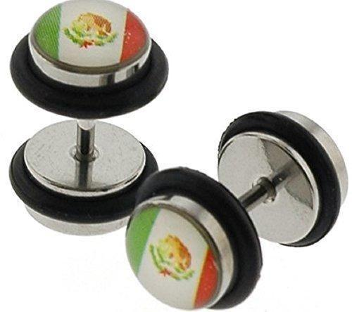 Stainless Steel Fake Plugs with Mexican Flag Logo sold as a pair
