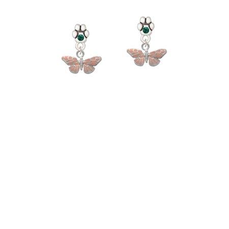 Small Butterfly Earrings - Small Pink Butterfly - Green Crystal Paw Earrings