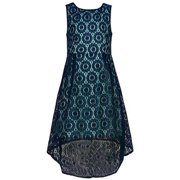 Rare Editions Girls Navy Lace Aqua Lined Hi-Low Hem Dress 7
