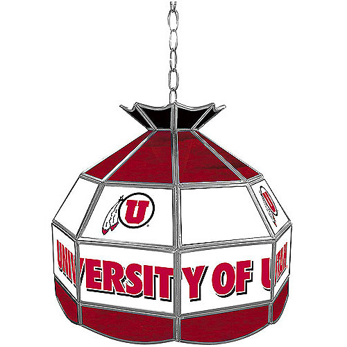 "Trademark Global University of Utah 16"" Stained Glass Tiffany Lamp Light Fixture"