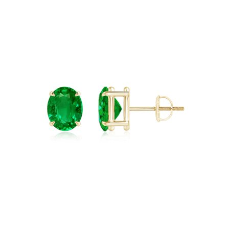 May Birthstone Earrings Claw Set Solitaire Oval Emerald Stud In 14k Yellow Gold