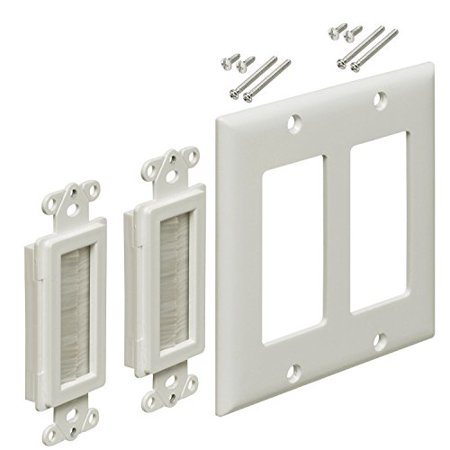 - iMBAPrice 2-Gang Brushed Wall Plate - Decora Style Cable Pass Through Insert for Wires Wall Socket Plug Port/HDTV/HDMI/Home Theater Systems and More - White