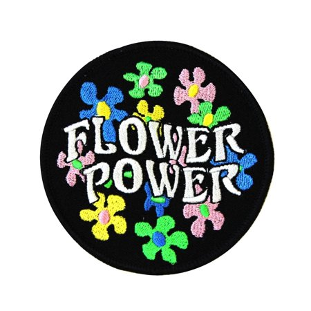Daisy Flower Power Patch 60s Hippie Peace Badge Embroidered Iron On Applique](60s Flower Power)