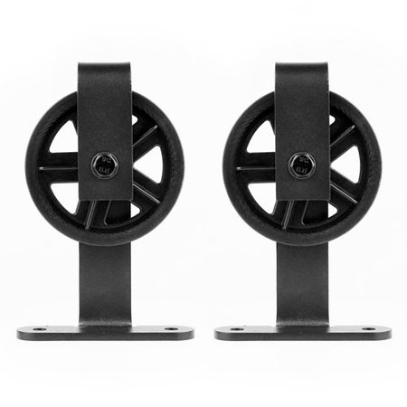 - Lubann Big Wheel Style Top Mount Sliding Wood Track Kit Barn Door Hardware