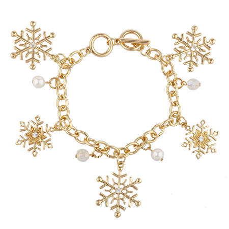 Lux Accessories Gold Tone Faux Pearl Crystal Ab Bead Snowflake Charm Bracelet