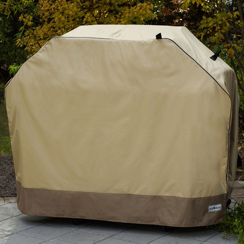 "Sure Fit 65"" Large/Wide Two-Tone Grill Cover, Taupe/Olive"