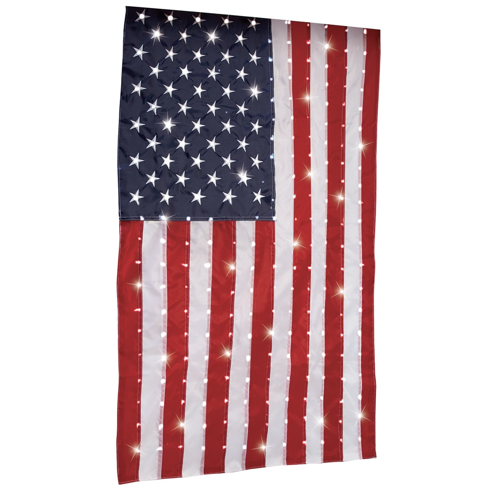 Fiber Optic Hanging Patriotic American Flag, Red by Collections Etc
