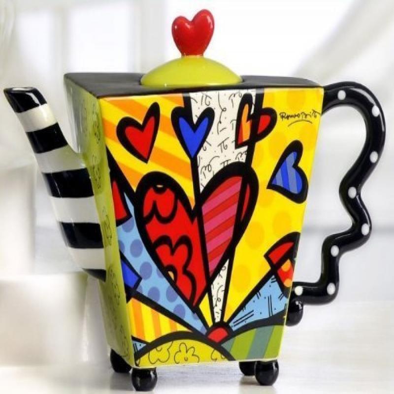 Naruekrit Romero Britto Teapot Square Heart Ceramic Dolom...