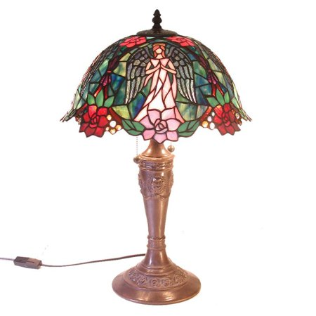 (Warehouse of Tiffany 2856+BB654 2 Light Style Angel Table Lamp)