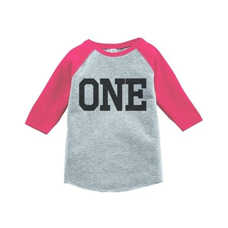 Custom Party Shop Girls First Birthday One Vintage Baseball Tee 2T Grey And Pink