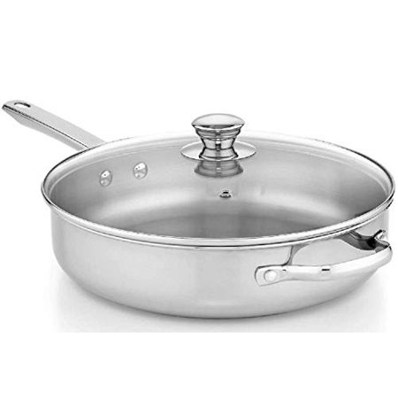 Stainless Steel Covered Saute Pan 4 quart Covered Oval Saute Pan
