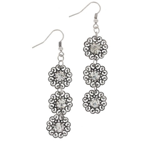 Silver Tone Circle Filigree Rhinestone Long Pierced Dangle Drop Earrings 3