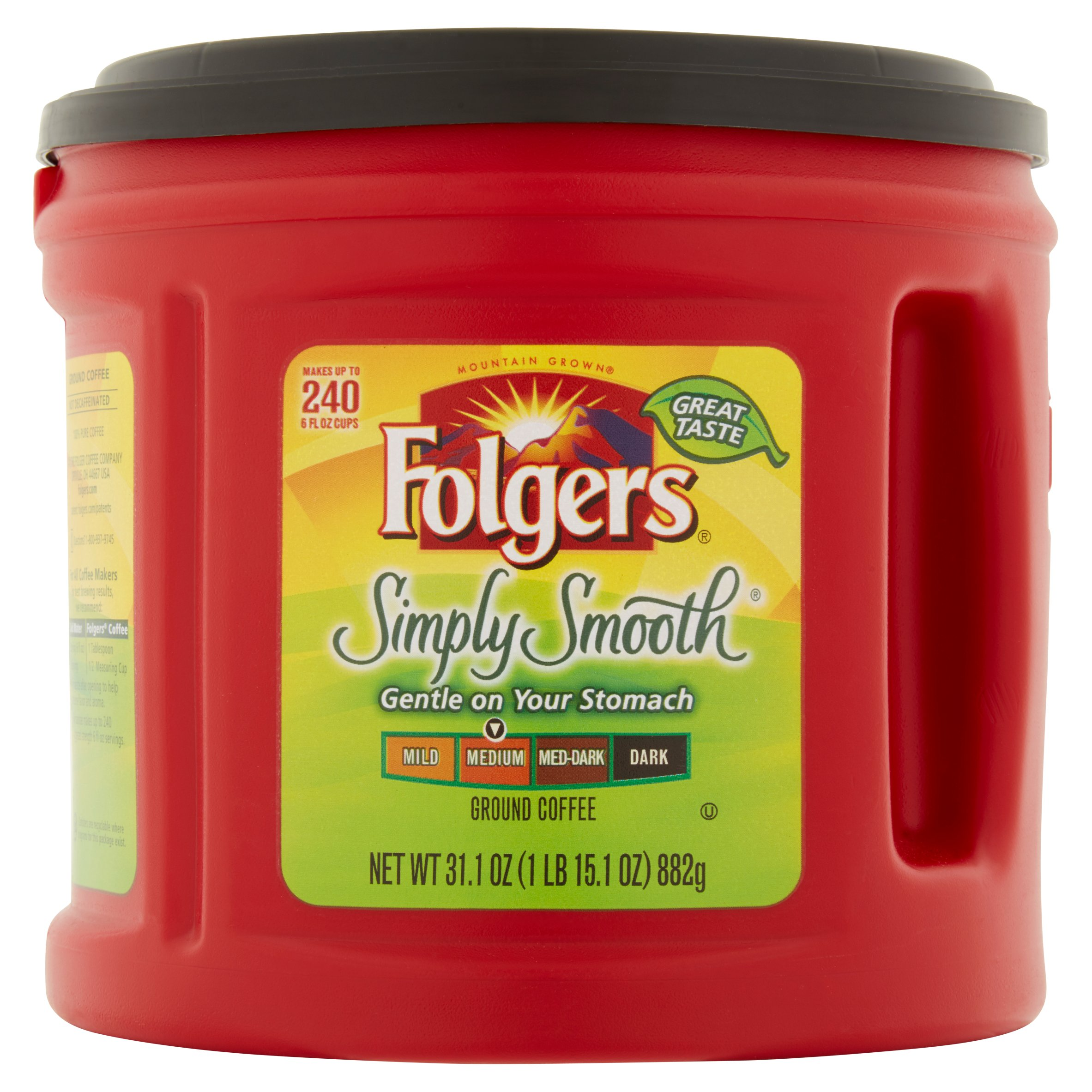 Folgers Mountain Grown Simply Smooth Medium Ground Coffee, 31.1 oz