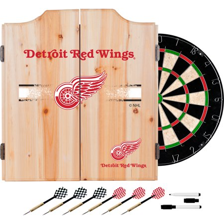 NHL Dart Cabinet Set with Darts and Board - Detroit Red Wings (Wings Cabinet)