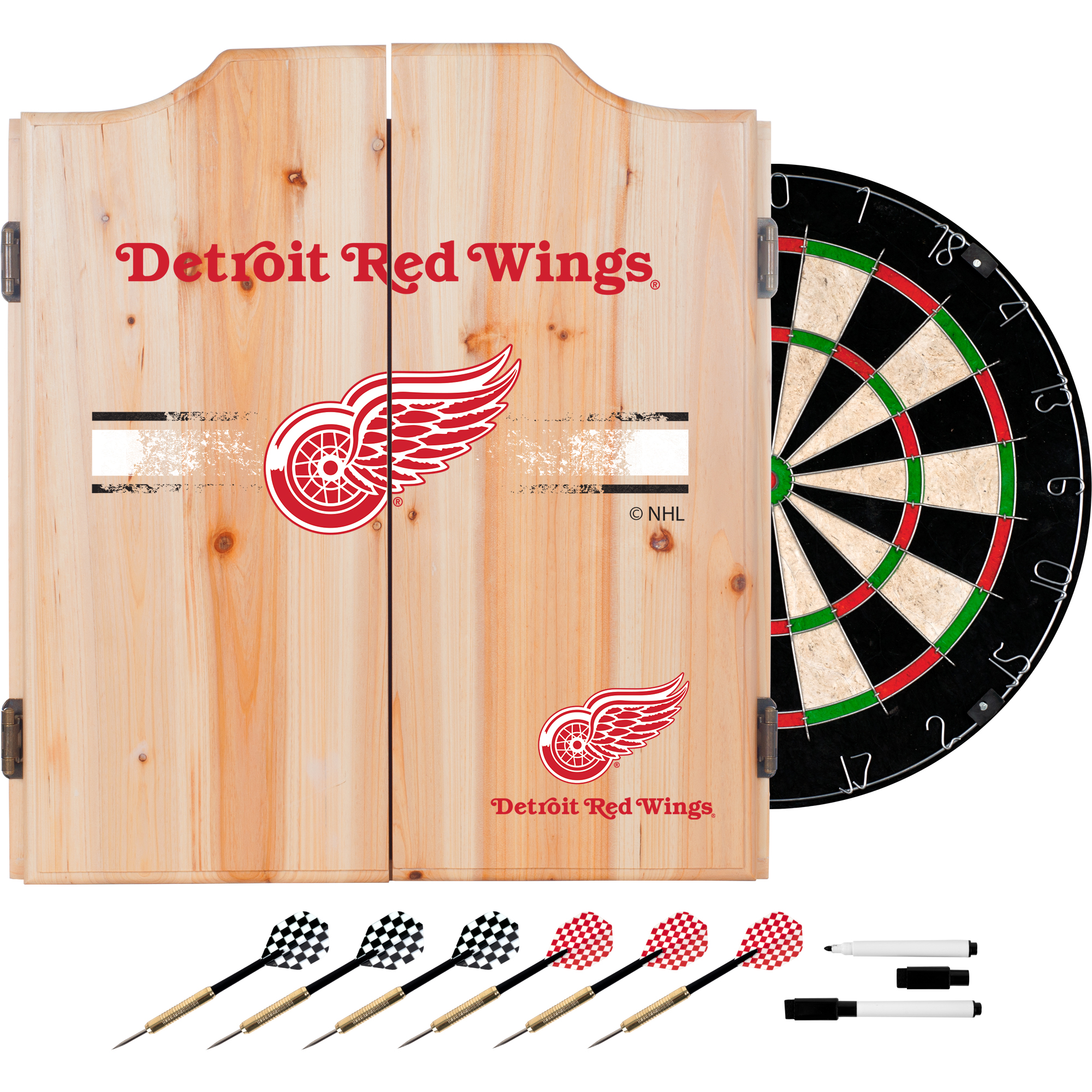NHL Dart Cabinet Set with Darts and Board - Detroit Red Wings