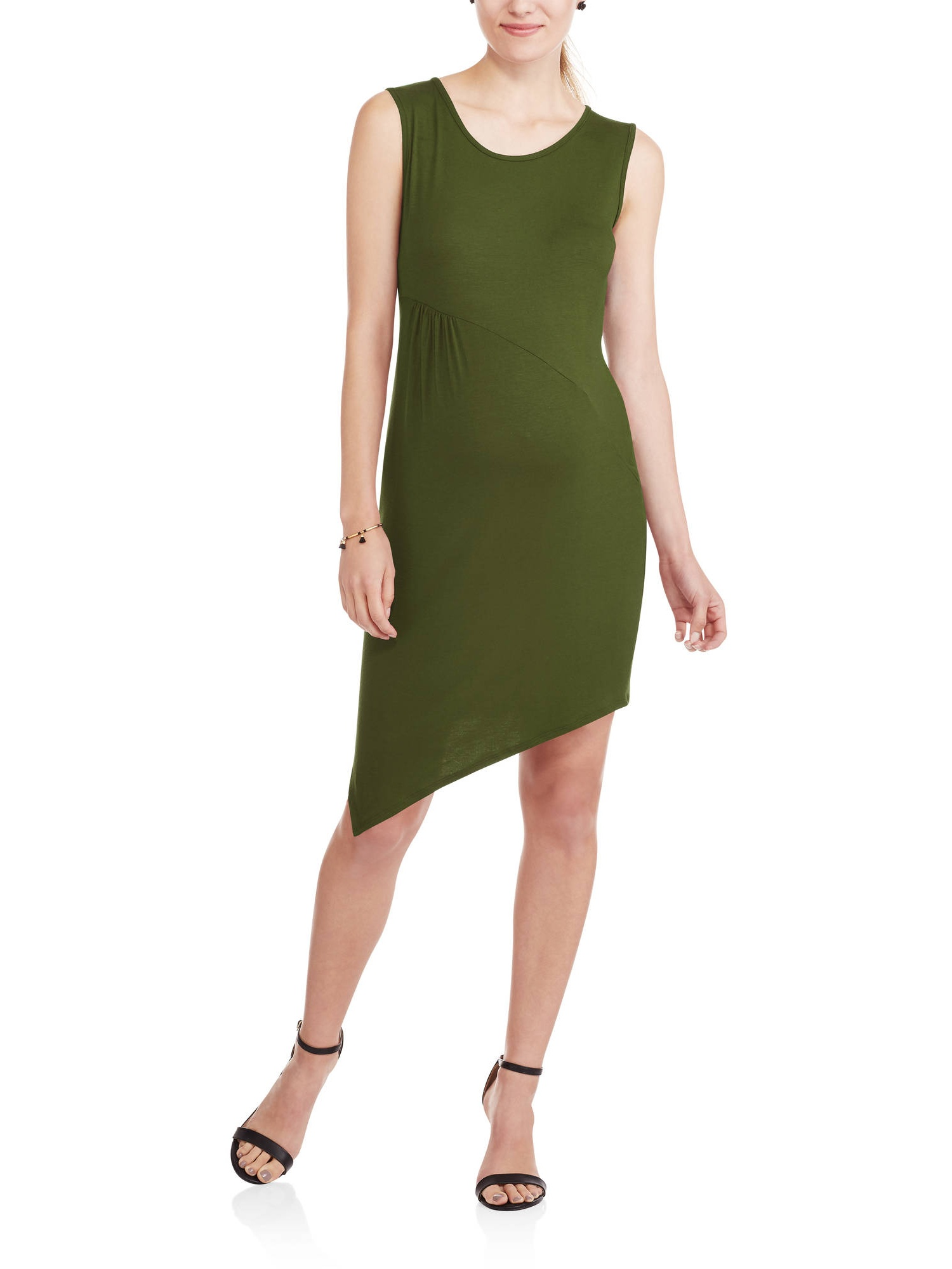Maternity Sleeveless Crew Neck Fitted Asymmetrical Dress by