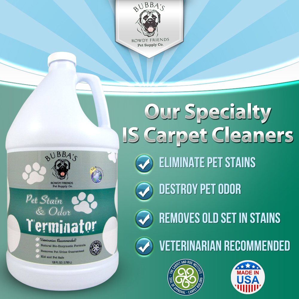 BUBBAS, Super Strength Commercial Enzyme Cleaner-Pet Odor Eliminator.  Gallon Size Enzymatic Stain Remover-Remove Cat-Dog Urine Smell From Carpet, Rug, Hardwood Floor And Other Surfaces