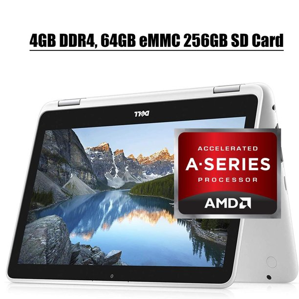 """Dell Inspiron 11 3000 2 in 1 Laptop 2020 Premium I 11.6"""" HD Touchscreen I AMD A9-9420e I 4GB DDR4 64GB eMMC 256GB SD Card I Graphics with AMD APU CameraWiFi HDMI Win 10"""