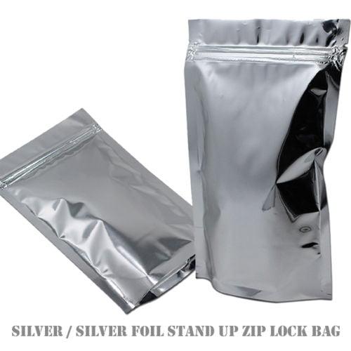 MTP 10X 14x20cm Stand Up Soild Silver Aluminium Foil Reusable Zip Bag Food Save Mylar Metallic Resealable Foil Zipper Lock Pouches