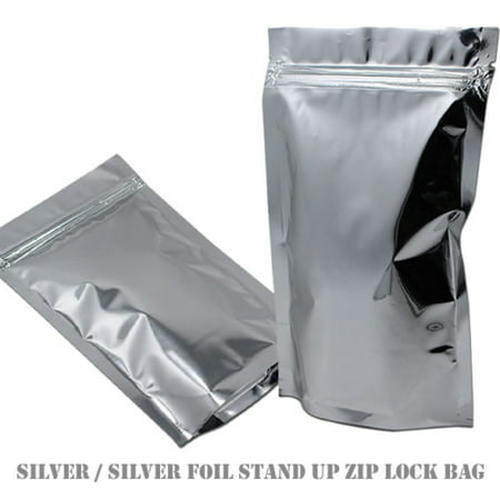 MTP 10X 14x20cm Stand Up Soild Silver Aluminium Foil Reusable Zip Bag Food Save Mylar Metallic Resealable Foil Zipper Lock