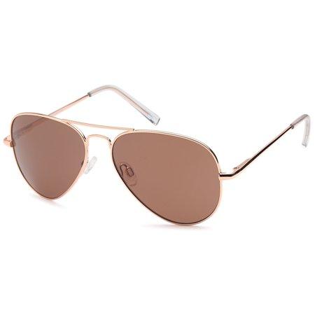 1bb4b59a39 JETPAL - JETPAL Premium Classic Aviator UV400 Sunglasses w Flash Mirror  Lenses - Polarized Mirror Brown Lens on Gold Flex Arm Frame - Walmart.com