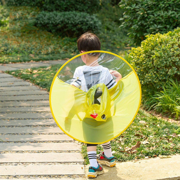 Foldable Rain Coat UFO Adult Child Kids Umbrella Hat Magical Hands Free Raincoat