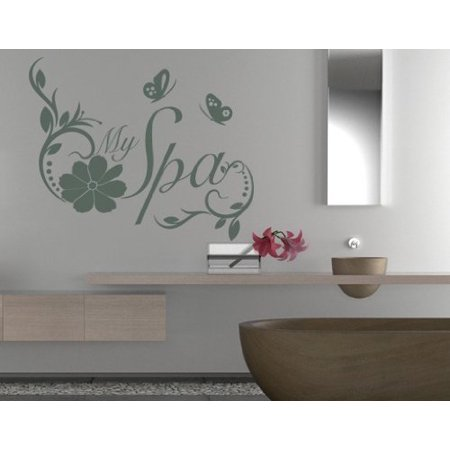 My Spa Quote with Flowers and Butterflies Wall Decal - Wall Sticker, Vinyl Wall Art, Home Decor, Wall Mural - 1881 - 55in x 45in, Dark gray ()