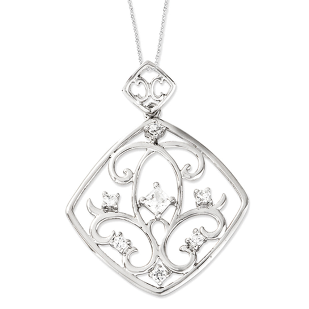 Joy overflowing Sterling Silver Necklace with Cubic Zirconia