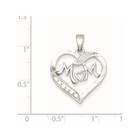 925 Sterling Silver MOM CZ Heart (21x21mm) Pendant / Charm - image 1 of 2