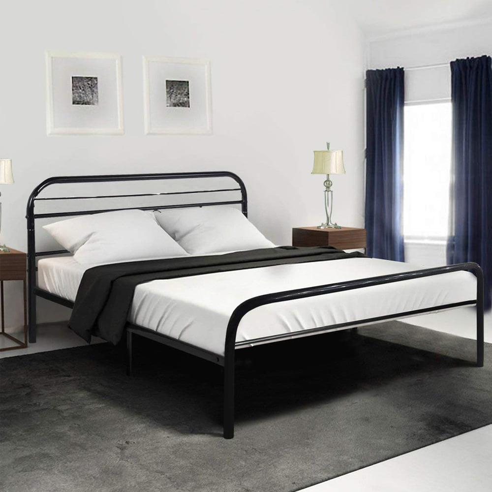 UBesGoo Queen Bed Frame Metal Platform Mattress Base Black Bed with Vintage Headboard, Queen