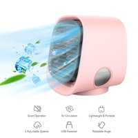 Portable Air Conditioner Desktop Air Cooler Humidifier Air Purification USB Mini Fan with 7 Color LED Light for Home Office Dorm