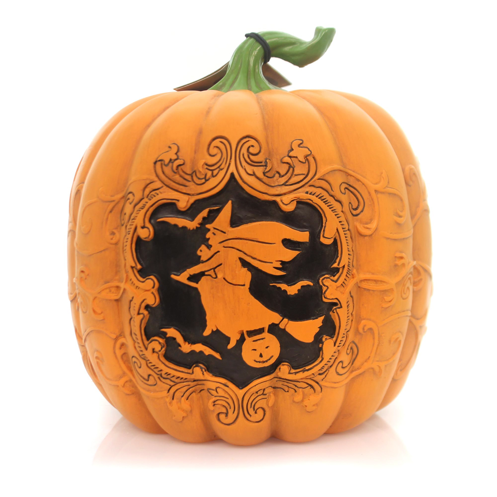 Halloween HAUNTED SILHOUETTE PUMPKIN Carved Witch Flying Bats Lc5472 Witch