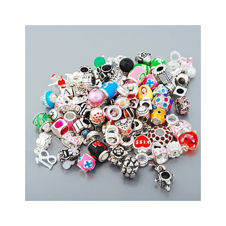 Twenty Five (25) Pack of Assorted Antique Silver Finish And Rhinestone Charm Beads. Compatible With Pandora Style (Antique Womens Beads)