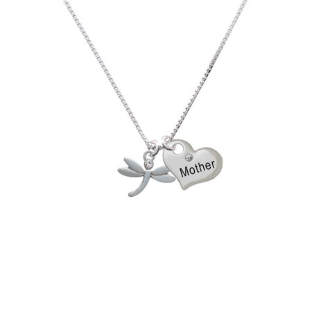 Silvertone Small Dragonfly with Crystal Mother Heart Necklace Dragonfly White Gold Necklace
