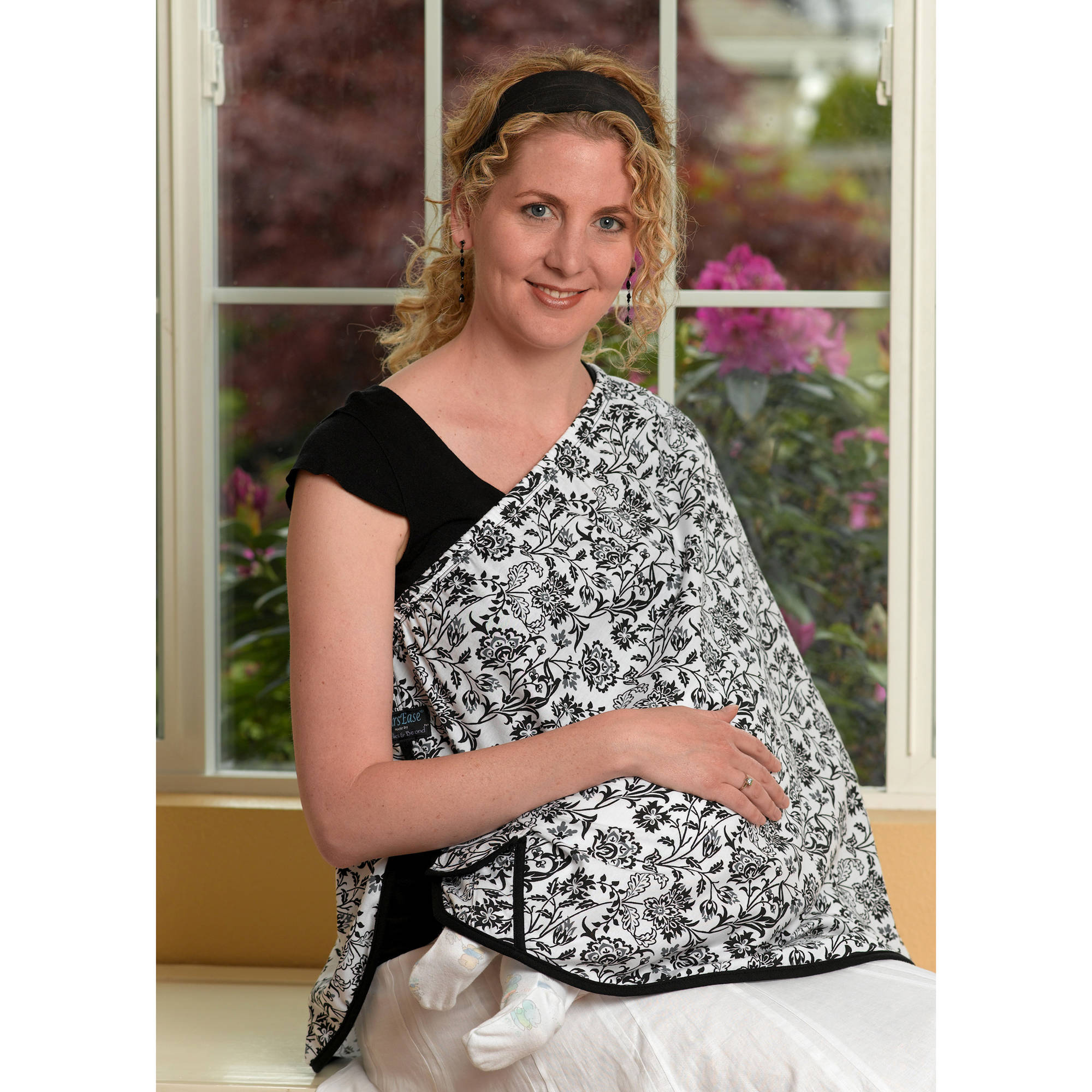 NursEase Organic Cotton Nursing Shawl, Beautiful Blooms