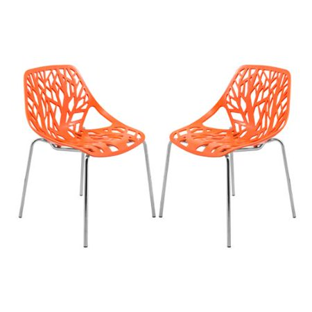 Leisuremod Asbury Modern Orange Chrome Dining Chairs Set