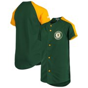Oakland Athletics Stitches Youth Logo Button-Down Jersey - Green