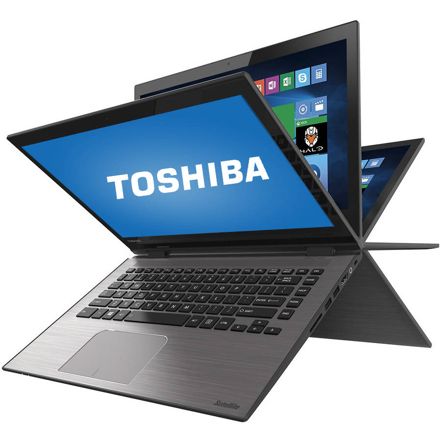 "Refurbished Toshiba Brushed Black 14"" Satellite Radius E45W-C touch screen 2-in-1 Convertible Laptop PC with Intel Core i3-5015U Processor, 6GB Memory, 500GB Hard Drive and Windows 10 Home"