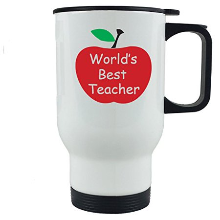 World's Best Teacher 14 oz White Stainless Steel Travel Coffee Mug - Great Gift for Teachers - Birthday, or Christmas Gifts for (Best Christmas Gifts 2019 For Women)