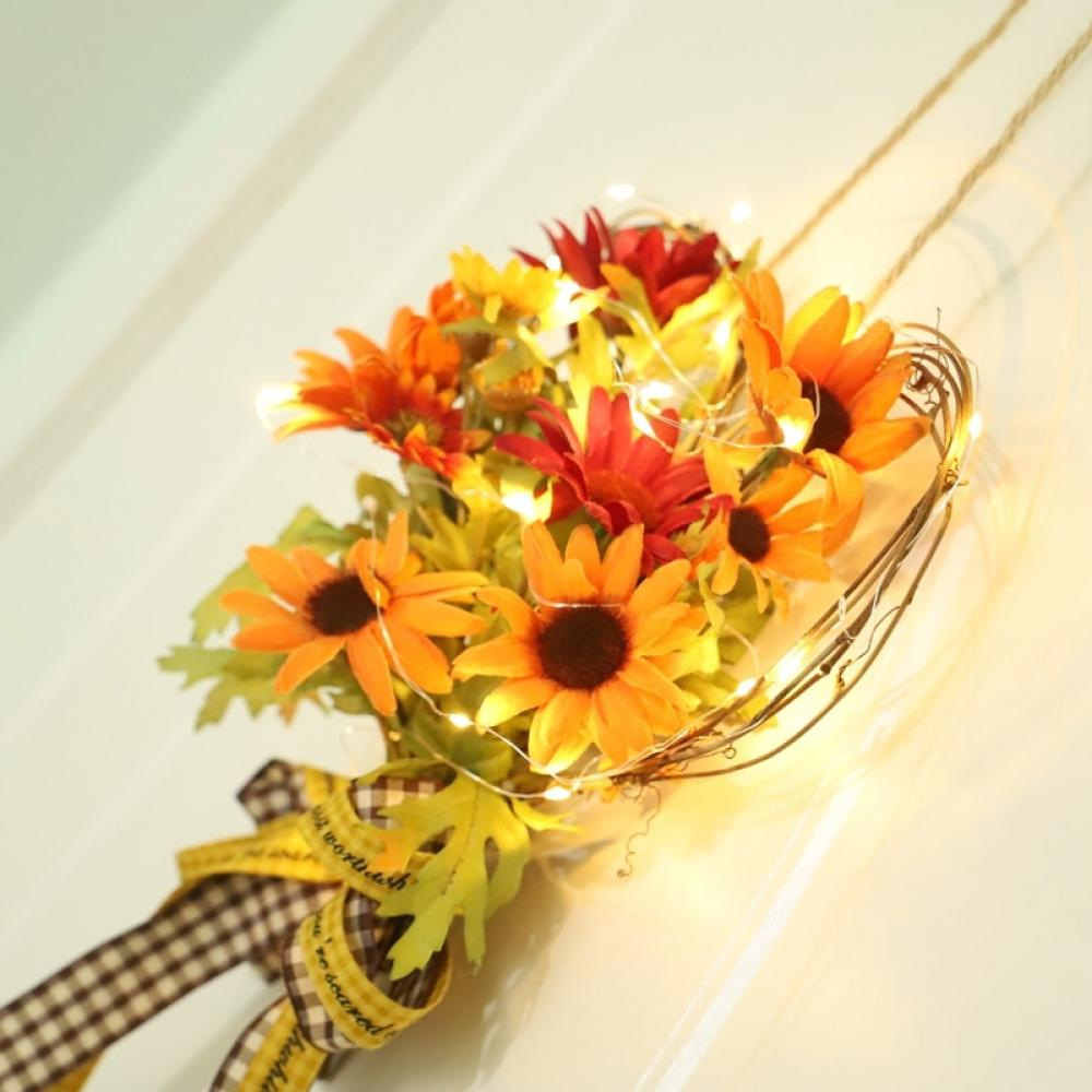 Details about  /Autumn Simulation Sunflower Heart-shaped Bow Wall Hanging Pendant Sunflower