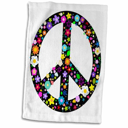 3dRose Floral Peace Symbol - Flowery hippy or hippie sign - flower power - colorful flowers - on white - Towel, 15 by - Hippie Flowers