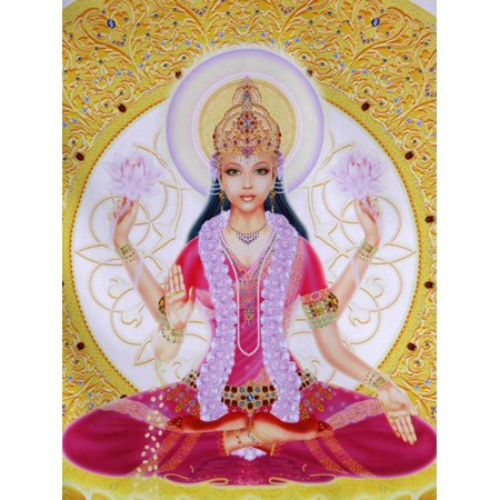 Picture of Lakshmi, Goddess of Wealth and Consort of Lord Vishnu, Sitting Holding Lotus Flowers, Ha Print Wall Art By