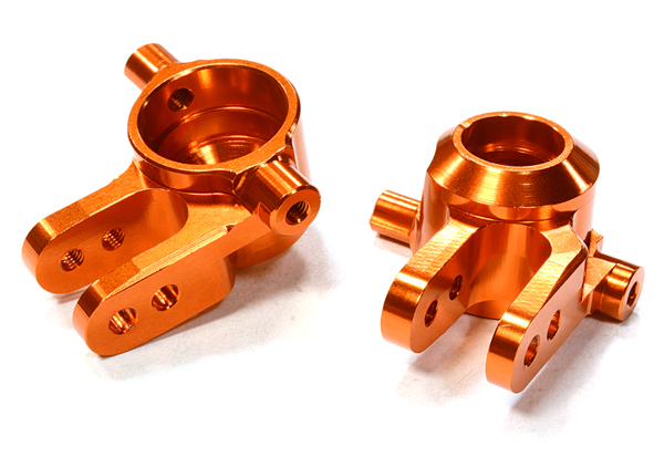 Integy RC Toy Model Hop-ups C26400ORANGE Billet Machined Steering Knuckles for Traxxas 1... by Integy