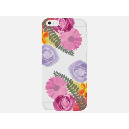 Floral Print Pastel Flower Color Fern Leaf Cute Clear Phone Case - For Apple iPhone SE Phone Back Cover