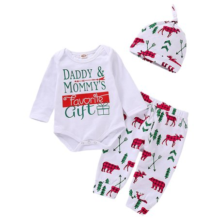 3PCS Kids Girls Xmas Christmas Long Sleeve Outfits Rompers Tops Pants Hats thumbnail